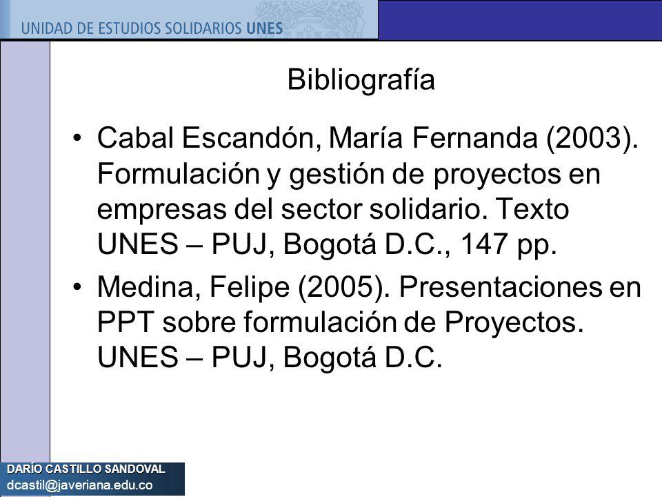 DARÍO CASTILLO SANDOVAL dcastil@javeriana.edu.co Bibliografía Cabal Escandón, María Fernanda (2003). Formulación y gestión de proyectos en empresas de