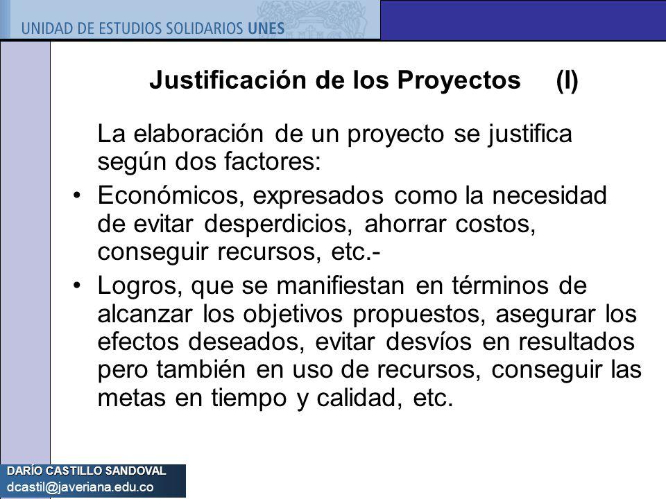 DARÍO CASTILLO SANDOVAL dcastil@javeriana.edu.co Justificación de los Proyectos (I) La elaboración de un proyecto se justifica según dos factores: Eco