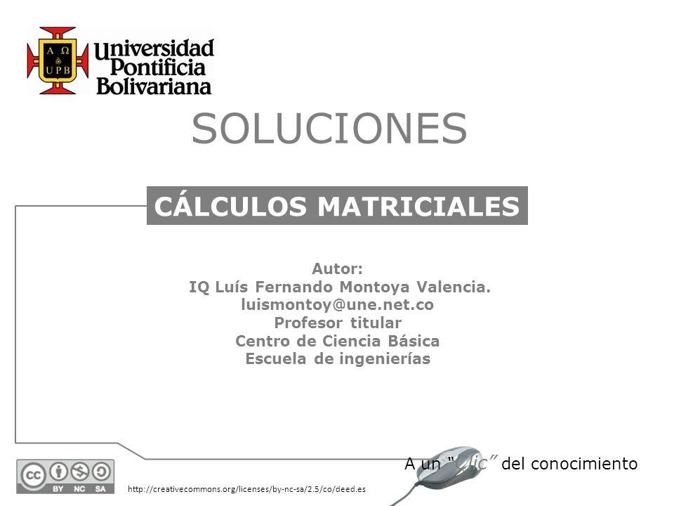 http://creativecommons.org/licenses/by-nc-sa/2.5/co/deed.es A un Clic del conocimiento SOLUCIONES CÁLCULOS MATRICIALES Autor: IQ Luís Fernando Montoya Valencia.