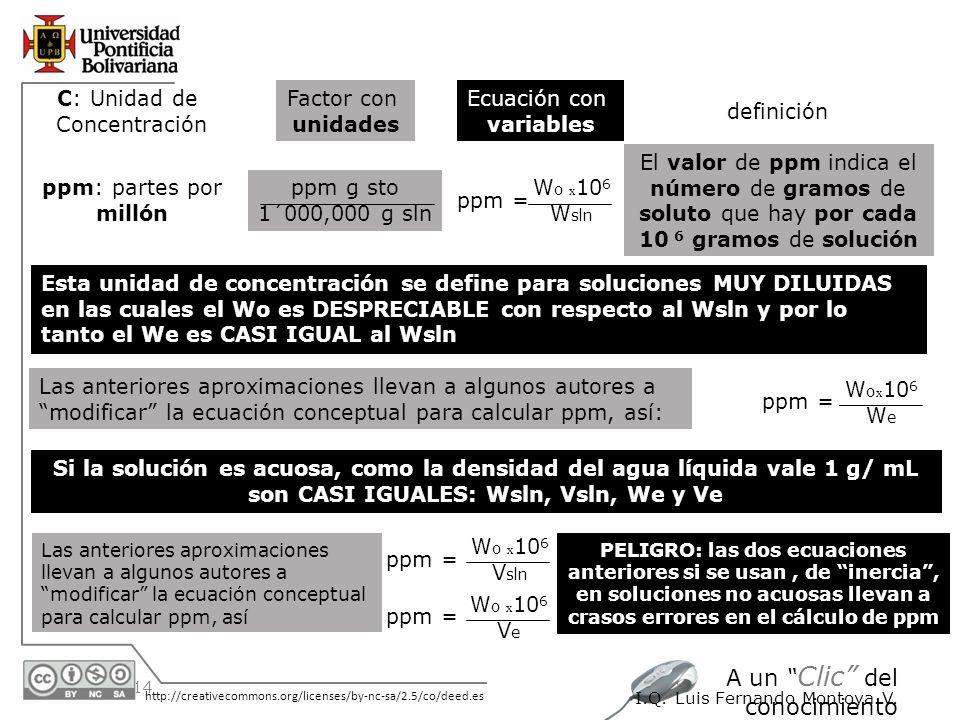 30/05/2014 http://creativecommons.org/licenses/by-nc-sa/2.5/co/deed.es A un Clic del conocimiento I.Q. Luis Fernando Montoya V. Esta unidad de concent
