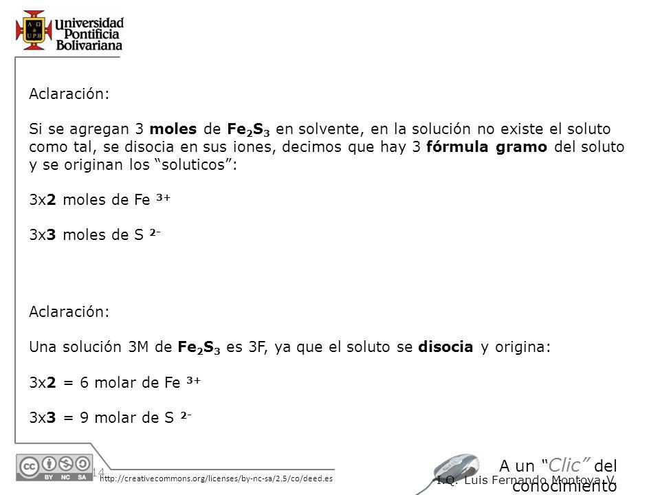30/05/2014 http://creativecommons.org/licenses/by-nc-sa/2.5/co/deed.es A un Clic del conocimiento I.Q. Luis Fernando Montoya V. Aclaración: Si se agre