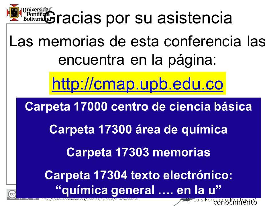 30/05/2014 http://creativecommons.org/licenses/by-nc-sa/2.5/co/deed.es A un Clic del conocimiento I.Q. Luis Fernando Montoya V. Gracias por su asisten