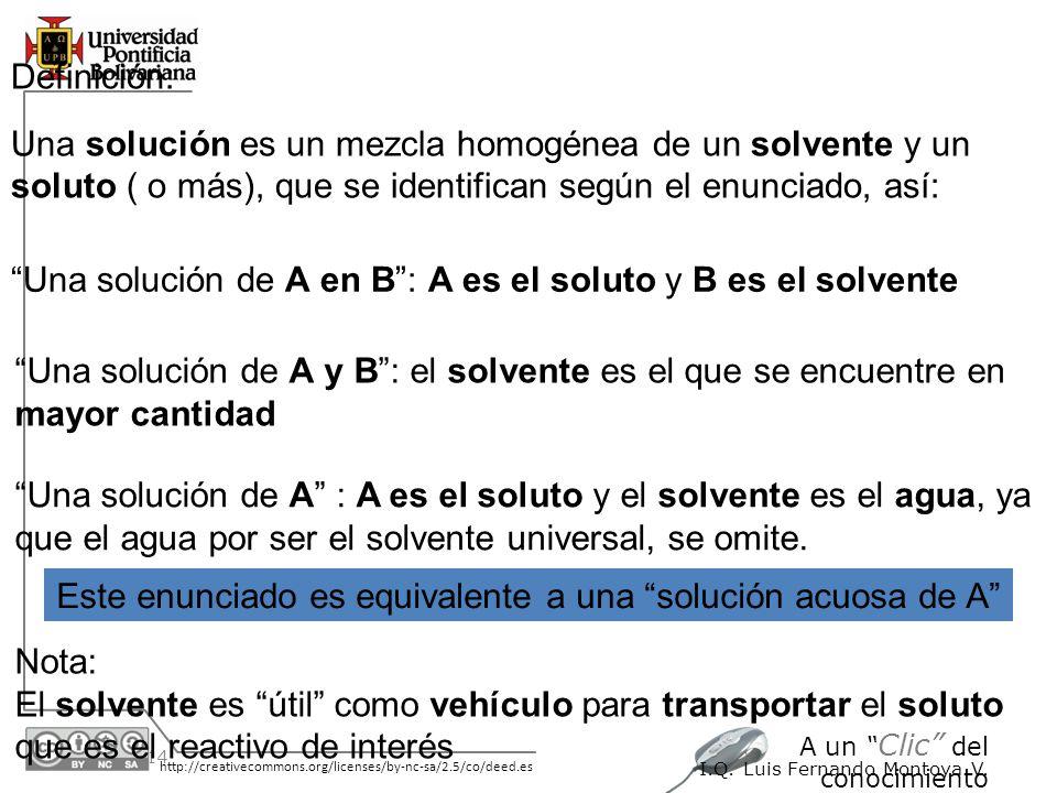 30/05/2014 http://creativecommons.org/licenses/by-nc-sa/2.5/co/deed.es A un Clic del conocimiento I.Q. Luis Fernando Montoya V. Definición: Una soluci