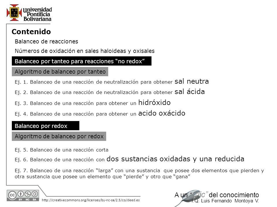 30/05/2014 http://creativecommons.org/licenses/by-nc-sa/2.5/co/deed.es A un Clic del conocimiento I.Q. Luis Fernando Montoya V. Contenido Balanceo de