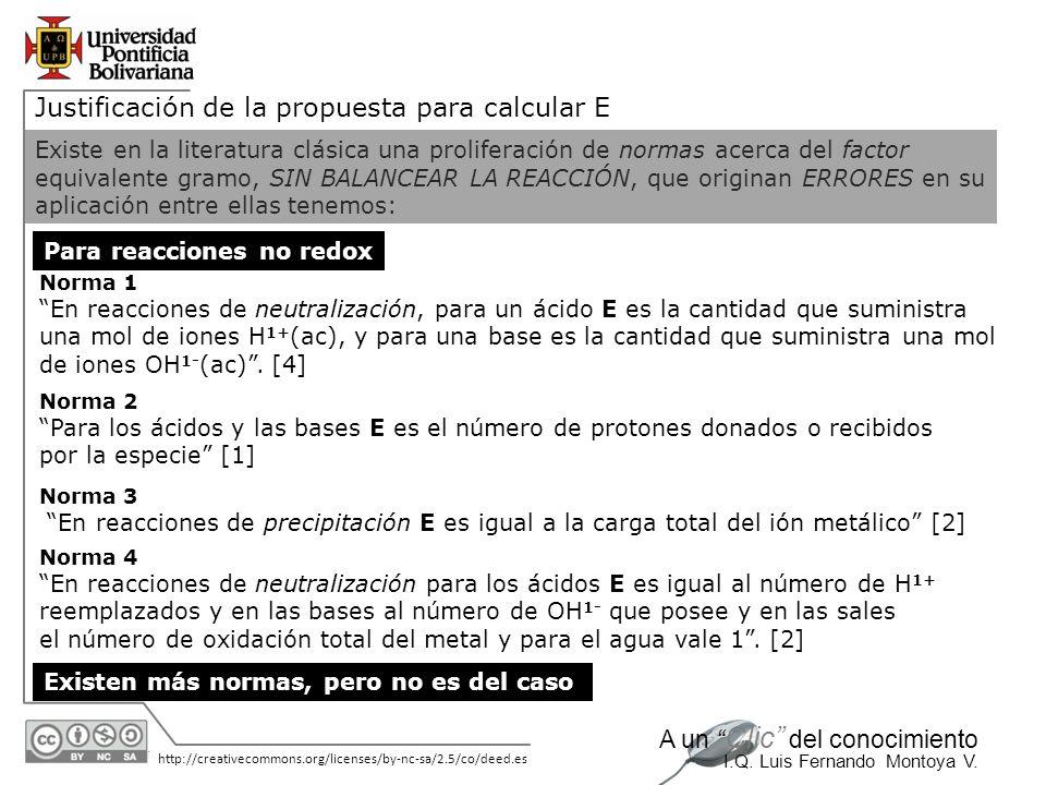30/05/2014 http://creativecommons.org/licenses/by-nc-sa/2.5/co/deed.es A un Clic del conocimiento I.Q. Luis Fernando Montoya V. Justificación de la pr