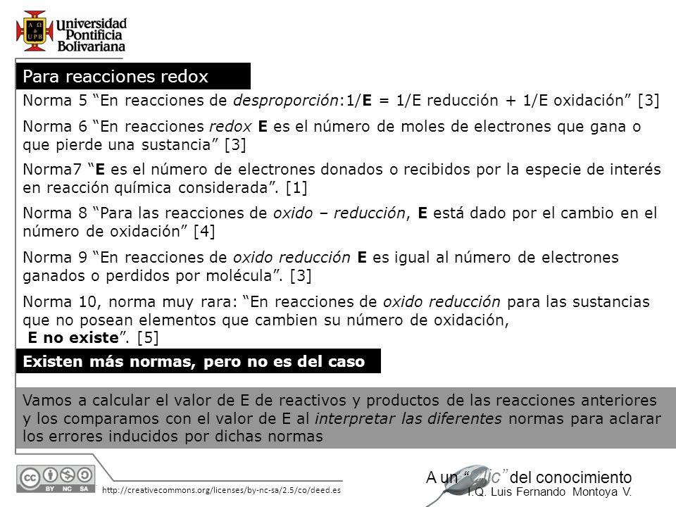 30/05/2014 http://creativecommons.org/licenses/by-nc-sa/2.5/co/deed.es A un Clic del conocimiento I.Q. Luis Fernando Montoya V. Norma 8 Para las reacc