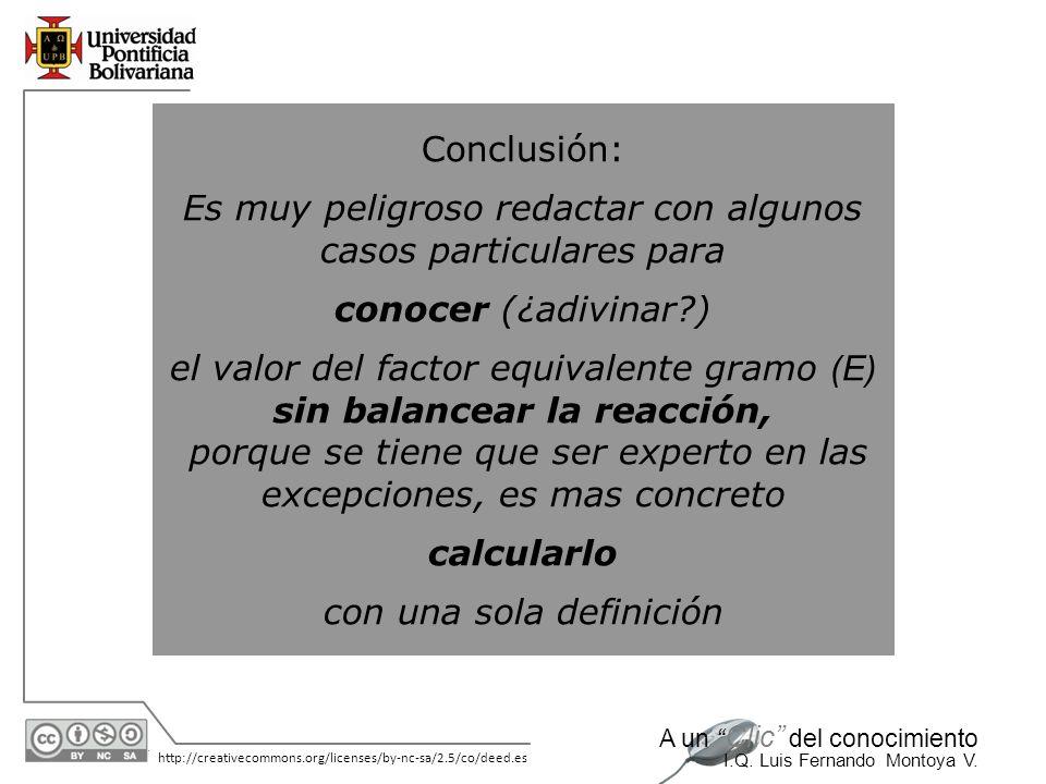 30/05/2014 http://creativecommons.org/licenses/by-nc-sa/2.5/co/deed.es A un Clic del conocimiento I.Q. Luis Fernando Montoya V. Conclusión: Es muy pel