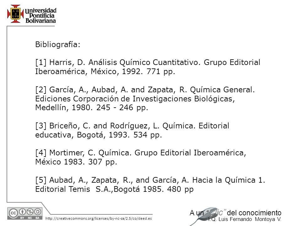 30/05/2014 http://creativecommons.org/licenses/by-nc-sa/2.5/co/deed.es A un Clic del conocimiento I.Q. Luis Fernando Montoya V. Bibliografía: [1] Harr