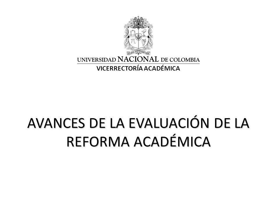 AVANCES DE LA EVALUACIÓN DE LA REFORMA ACADÉMICA VICERRECTORÍA ACADÉMICA