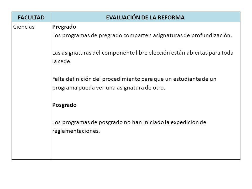 FACULTADEVALUACIÓN DE LA REFORMA CienciasPregrado Los programas de pregrado comparten asignaturas de profundización.