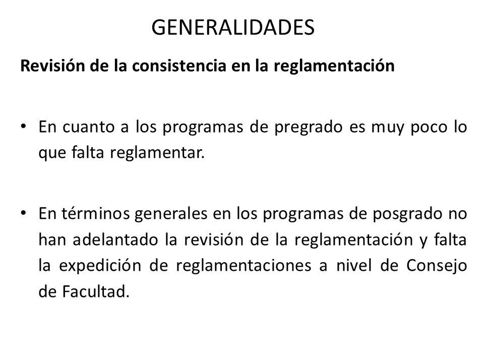 GENERALIDADES Revisión de la consistencia en la reglamentación En cuanto a los programas de pregrado es muy poco lo que falta reglamentar.