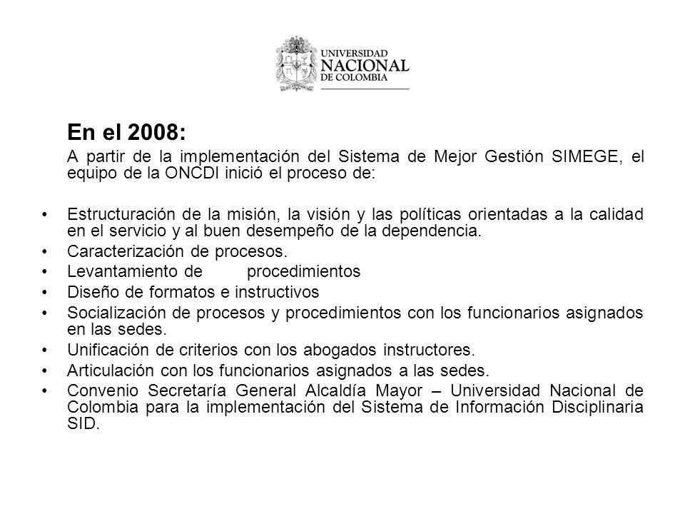 En el 2008: A partir de la implementación del Sistema de Mejor Gestión SIMEGE, el equipo de la ONCDI inició el proceso de: Estructuración de la misión, la visión y las políticas orientadas a la calidad en el servicio y al buen desempeño de la dependencia.