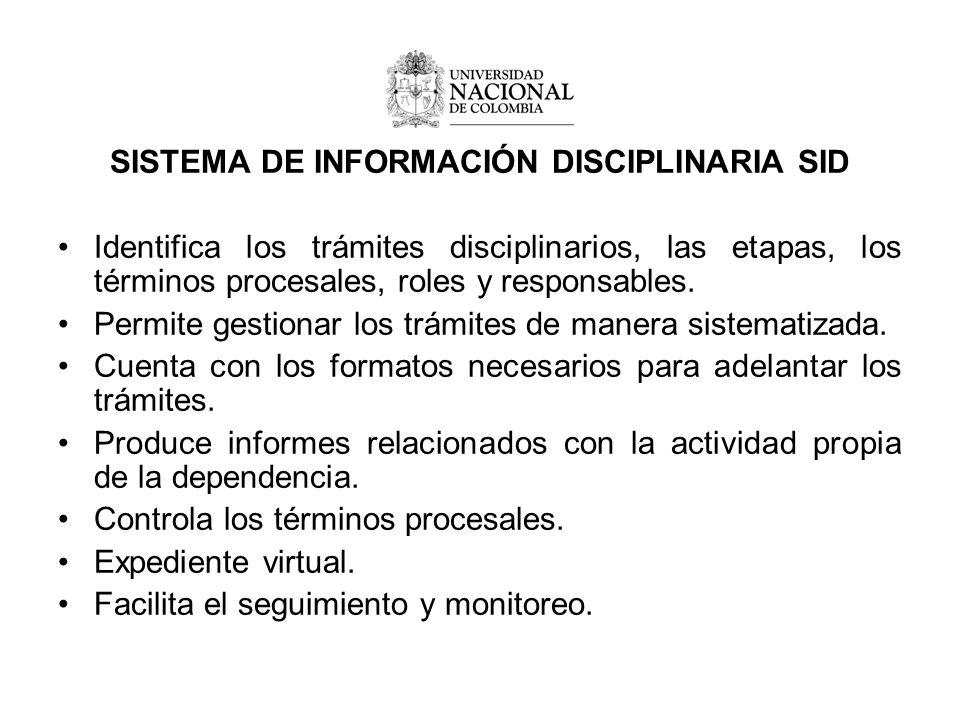 SISTEMA DE INFORMACIÓN DISCIPLINARIA SID Identifica los trámites disciplinarios, las etapas, los términos procesales, roles y responsables.