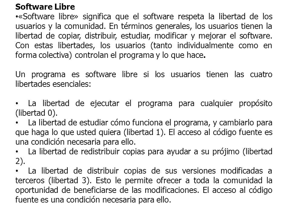 Software Libre «Software libre» significa que el software respeta la libertad de los usuarios y la comunidad.