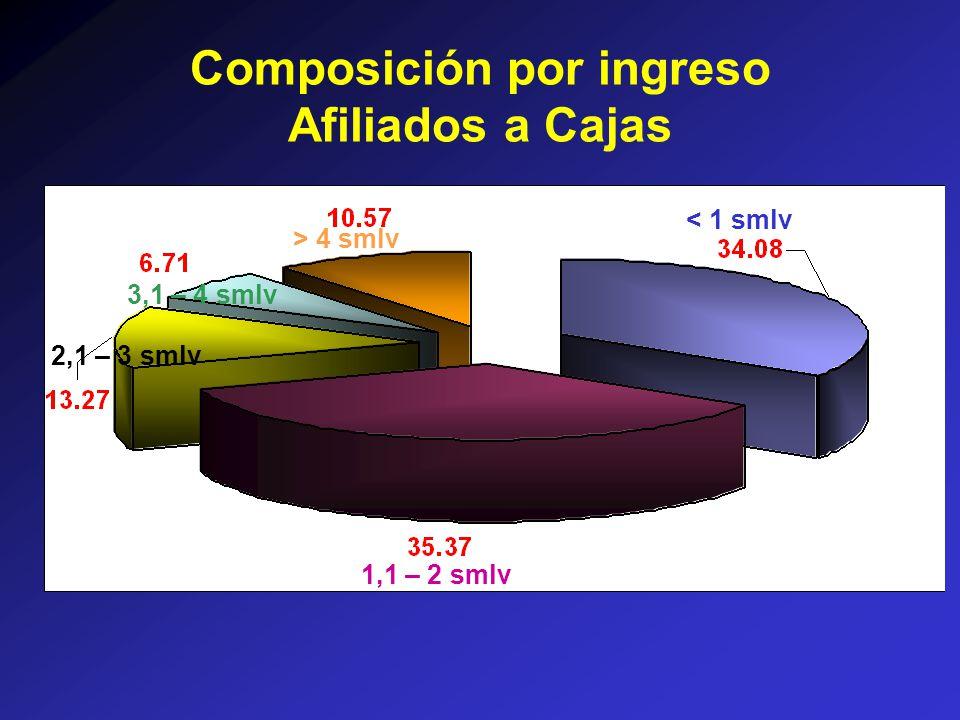 < 1 smlv > 4 smlv 3,1 – 4 smlv 2,1 – 3 smlv 1,1 – 2 smlv Composición por ingreso Afiliados a Cajas