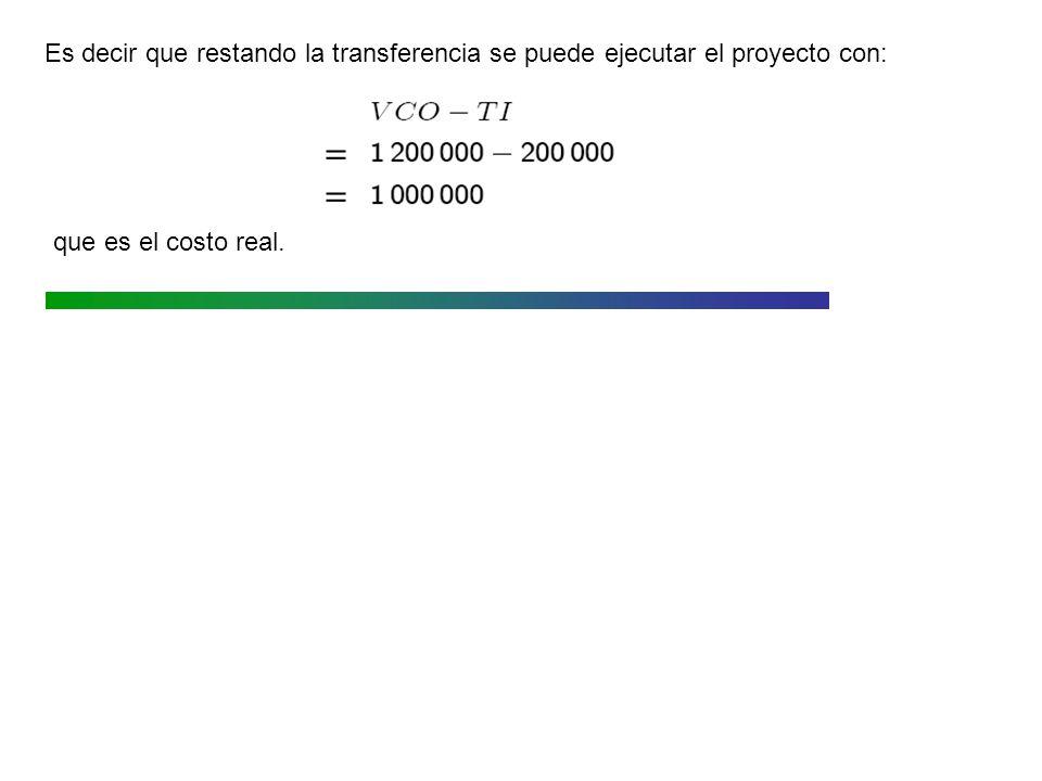 Es decir que restando la transferencia se puede ejecutar el proyecto con: que es el costo real.
