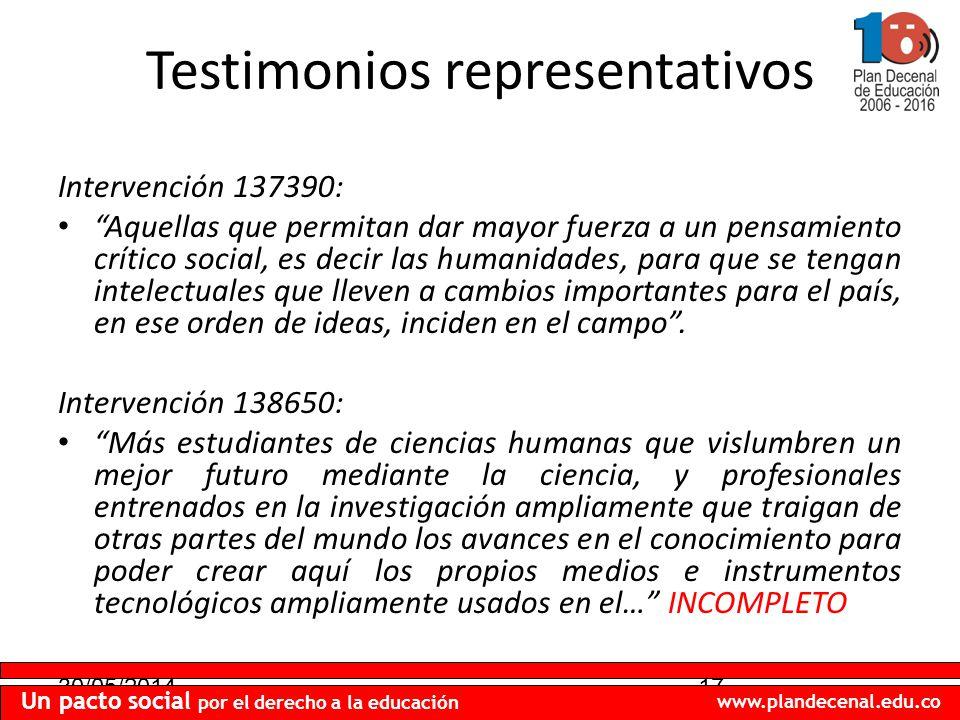 30/05/201417 Un pacto social por el derecho a la educación www.plandecenal.edu.co Testimonios representativos Intervención 137390: Aquellas que permit