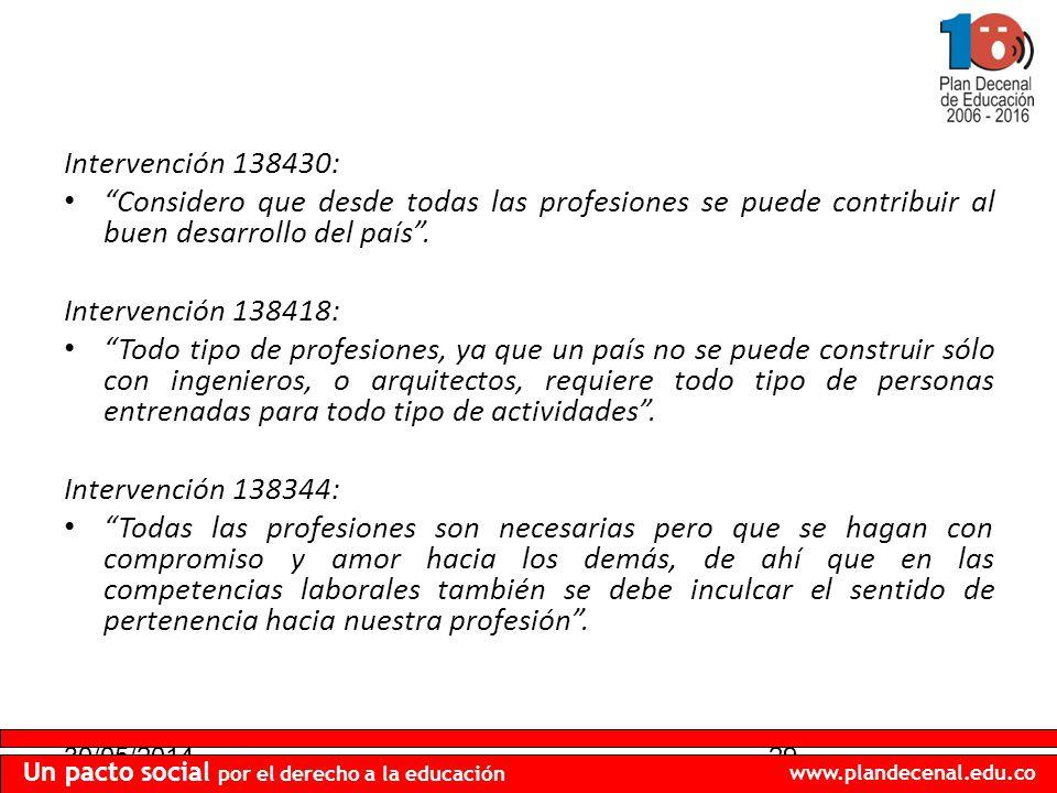30/05/201429 Un pacto social por el derecho a la educación www.plandecenal.edu.co Intervención 138430: Considero que desde todas las profesiones se puede contribuir al buen desarrollo del país.