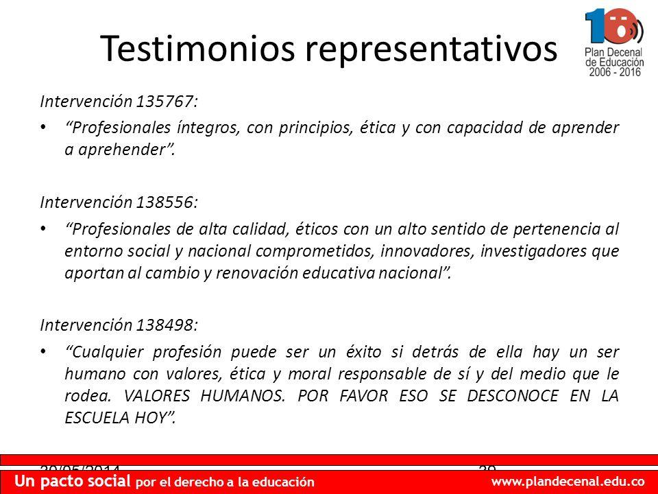 30/05/201439 Un pacto social por el derecho a la educación www.plandecenal.edu.co Testimonios representativos Intervención 135767: Profesionales ínteg