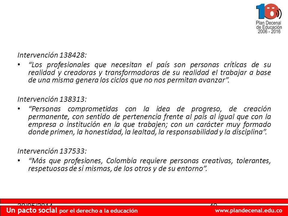 30/05/201440 Un pacto social por el derecho a la educación www.plandecenal.edu.co Intervención 138428: Los profesionales que necesitan el país son per