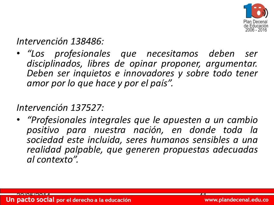 30/05/201441 Un pacto social por el derecho a la educación www.plandecenal.edu.co Intervención 138486: Los profesionales que necesitamos deben ser disciplinados, libres de opinar proponer, argumentar.