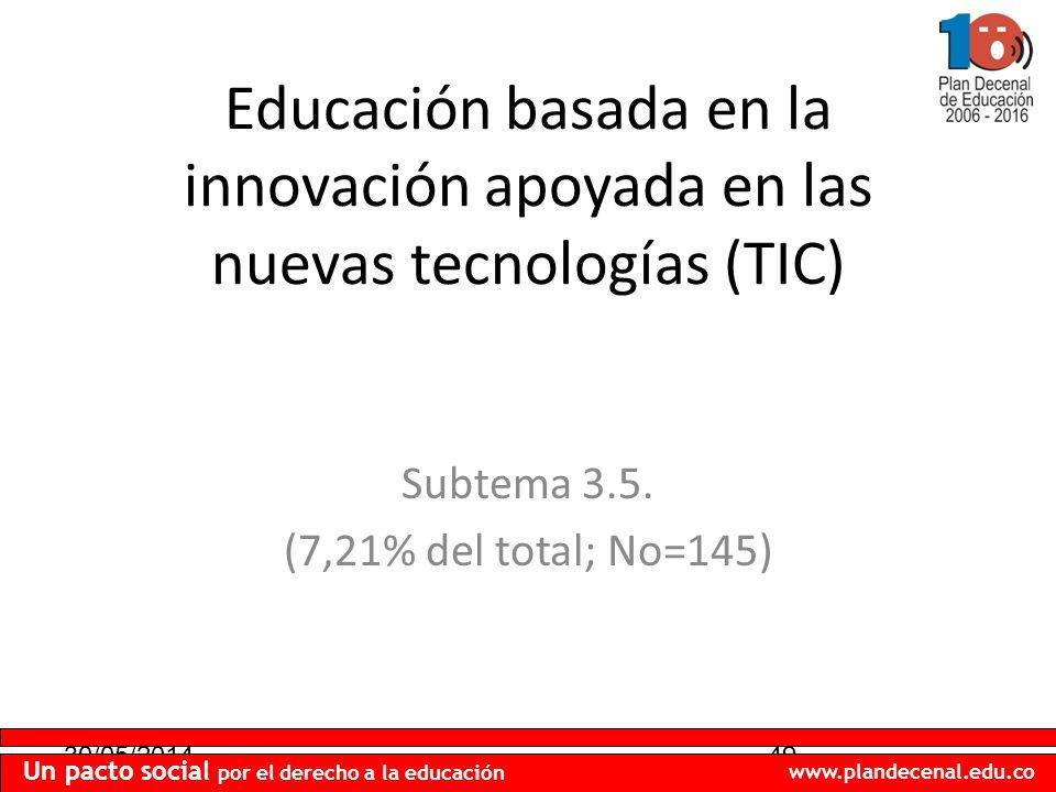 30/05/201449 Un pacto social por el derecho a la educación www.plandecenal.edu.co Educación basada en la innovación apoyada en las nuevas tecnologías (TIC) Subtema 3.5.