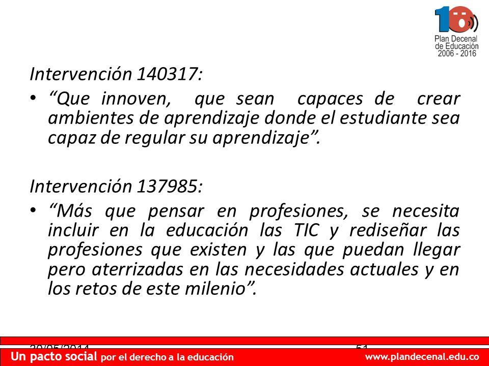 30/05/201451 Un pacto social por el derecho a la educación www.plandecenal.edu.co Intervención 140317: Que innoven, que sean capaces de crear ambientes de aprendizaje donde el estudiante sea capaz de regular su aprendizaje.