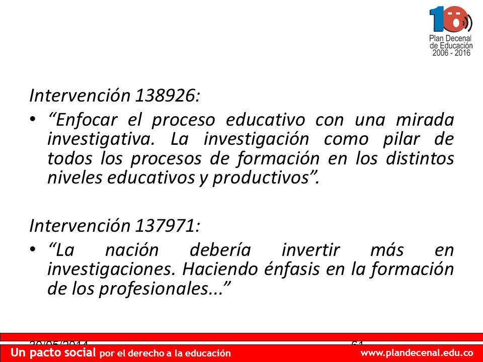 30/05/201461 Un pacto social por el derecho a la educación www.plandecenal.edu.co Intervención 138926: Enfocar el proceso educativo con una mirada investigativa.