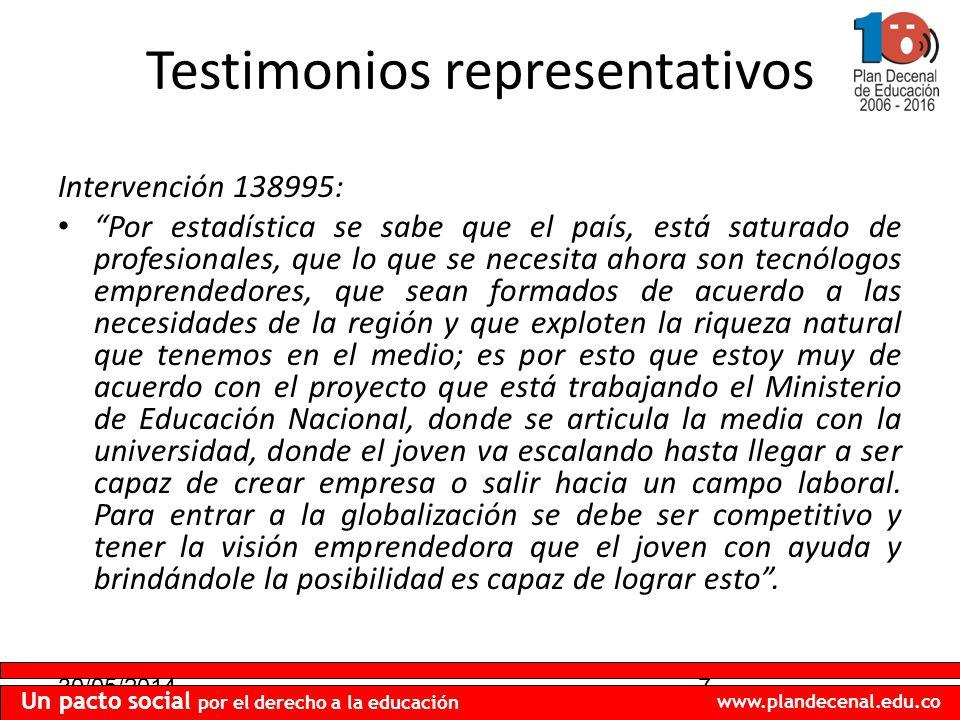 30/05/20147 Un pacto social por el derecho a la educación www.plandecenal.edu.co Testimonios representativos Intervención 138995: Por estadística se s