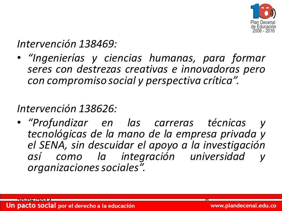30/05/20148 Un pacto social por el derecho a la educación www.plandecenal.edu.co Intervención 138469: Ingenierías y ciencias humanas, para formar seres con destrezas creativas e innovadoras pero con compromiso social y perspectiva crítica.