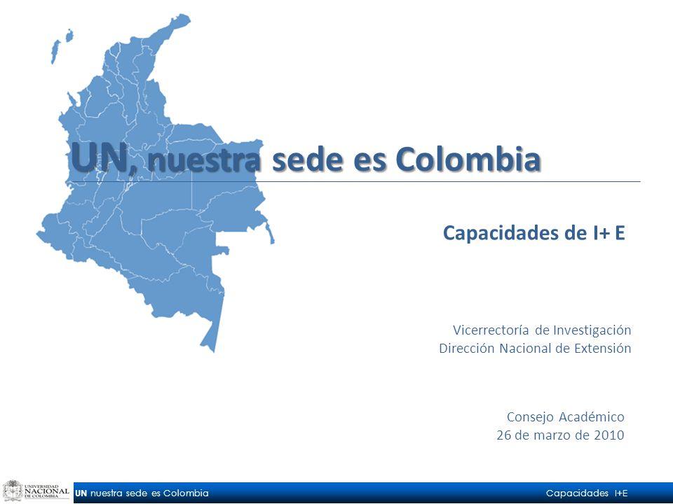 UN nuestra sede es Colombia Capacidades I+E Consejo Académico 26 de marzo de 2010 Capacidades de I+ E Vicerrectoría de Investigación Dirección Nacional de Extensión UN, nuestra sede es Colombia