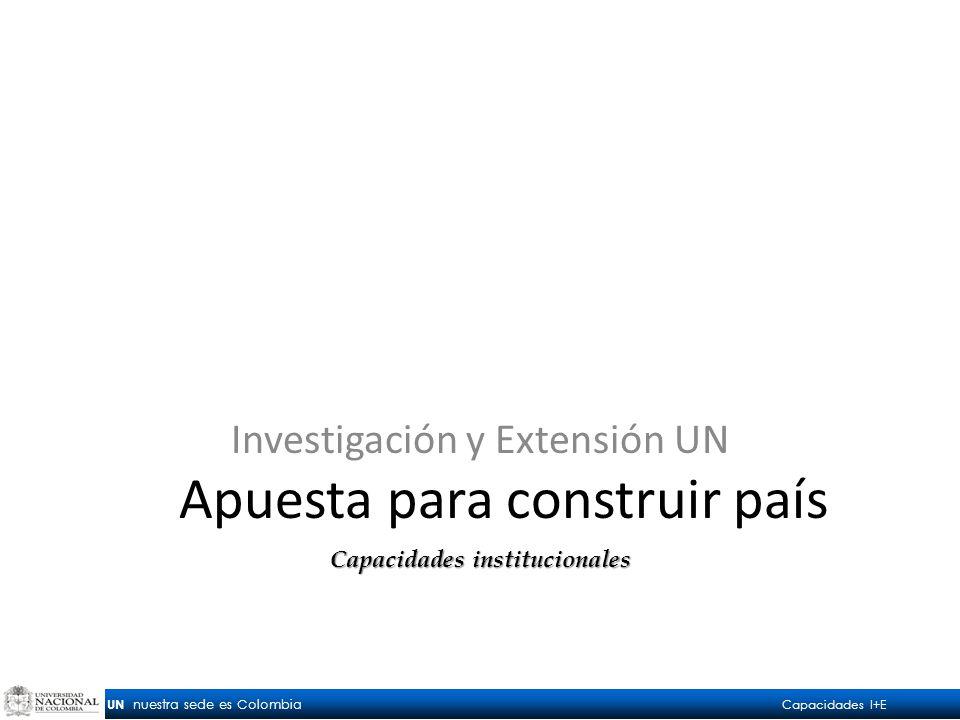 UN nuestra sede es Colombia Capacidades I+E Apuesta para construir país Investigación y Extensión UN Capacidades institucionales