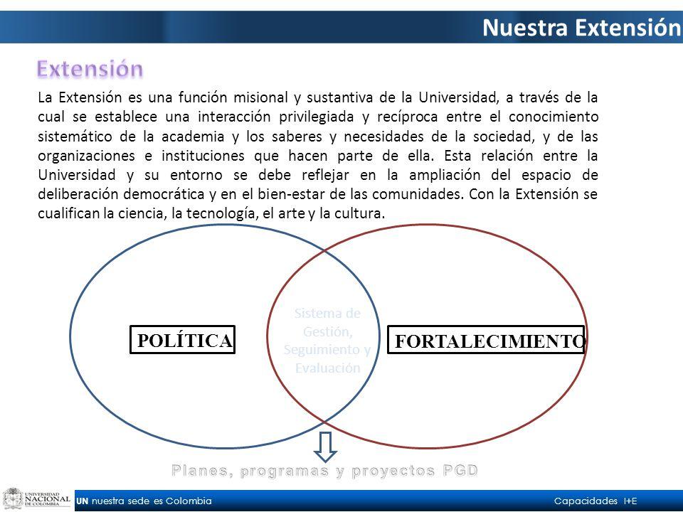 UN nuestra sede es Colombia Capacidades I+E Nuestra Extensión La Extensión es una función misional y sustantiva de la Universidad, a través de la cual se establece una interacción privilegiada y recíproca entre el conocimiento sistemático de la academia y los saberes y necesidades de la sociedad, y de las organizaciones e instituciones que hacen parte de ella.