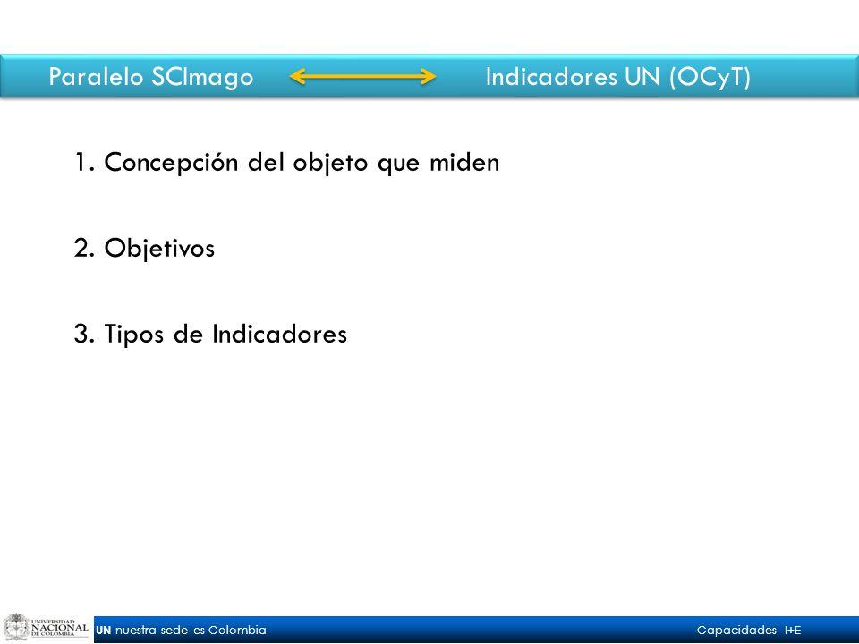 UN nuestra sede es Colombia Capacidades I+E Paralelo SCImago Indicadores UN (OCyT) 1.