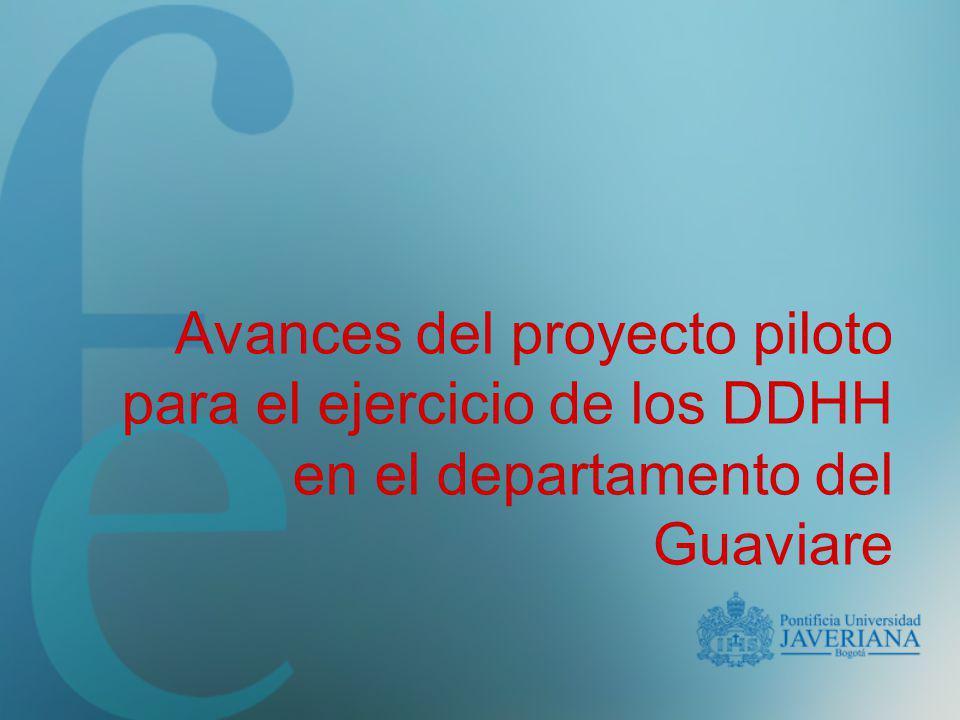 El Proyecto Piloto Como acción institucional para la formulación de políticas Como marco de reflexión sobre los DDHH Como propuesta de intervención de la realidad del Guaviare