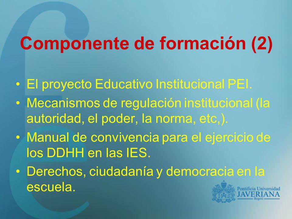 El proyecto Educativo Institucional PEI. Mecanismos de regulación institucional (la autoridad, el poder, la norma, etc,). Manual de convivencia para e