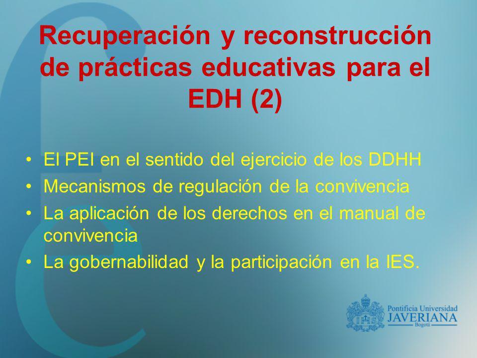 El PEI en el sentido del ejercicio de los DDHH Mecanismos de regulación de la convivencia La aplicación de los derechos en el manual de convivencia La