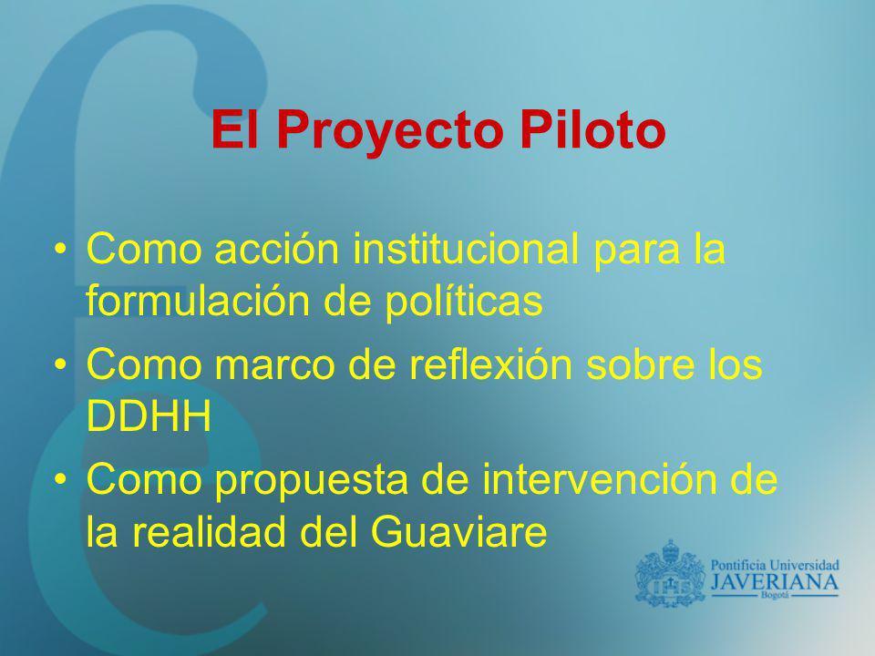 El Proyecto Piloto Como acción institucional para la formulación de políticas Como marco de reflexión sobre los DDHH Como propuesta de intervención de