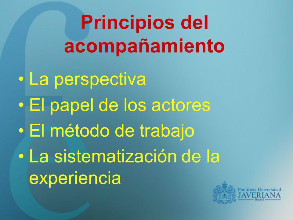 Principios del acompañamiento La perspectiva El papel de los actores El método de trabajo La sistematización de la experiencia