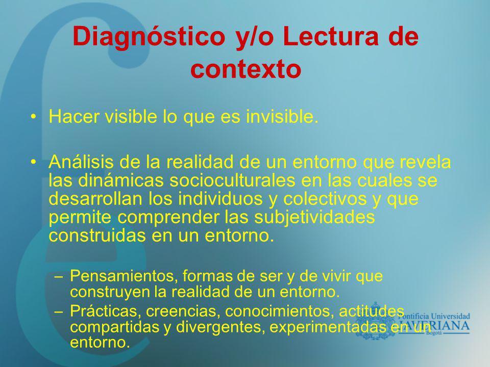 Diagnóstico y/o Lectura de contexto Hacer visible lo que es invisible. Análisis de la realidad de un entorno que revela las dinámicas socioculturales