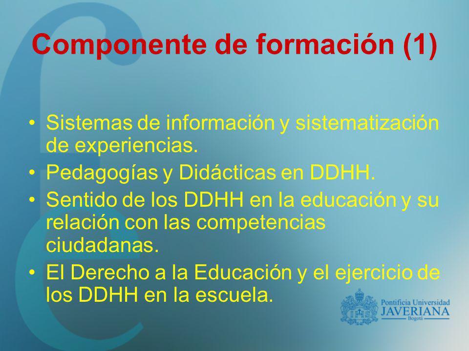 Componente de formación (1) Sistemas de información y sistematización de experiencias. Pedagogías y Didácticas en DDHH. Sentido de los DDHH en la educ
