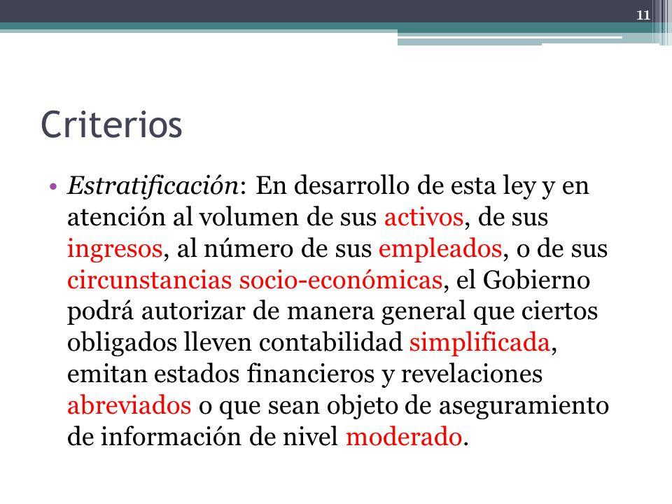Criterios Estratificación: En desarrollo de esta ley y en atención al volumen de sus activos, de sus ingresos, al número de sus empleados, o de sus ci
