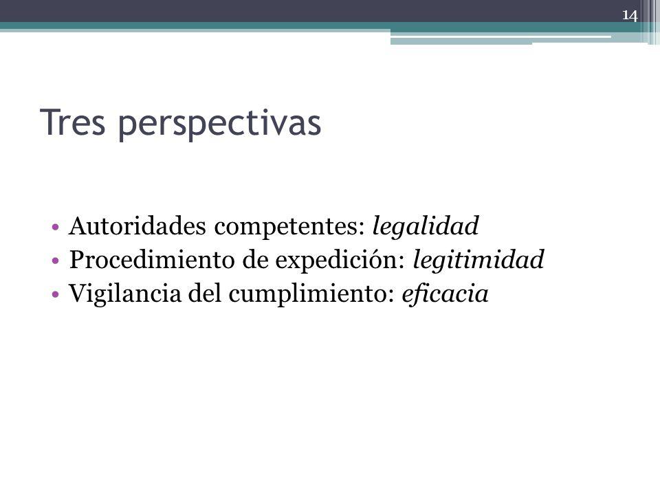 Tres perspectivas Autoridades competentes: legalidad Procedimiento de expedición: legitimidad Vigilancia del cumplimiento: eficacia 14