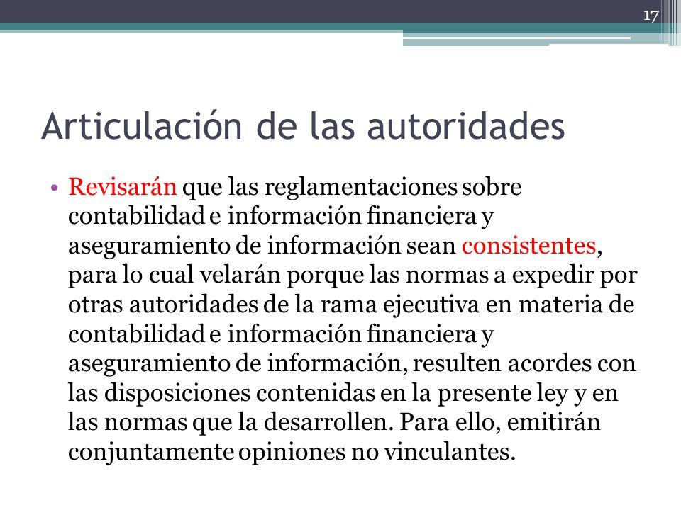 Articulación de las autoridades Revisarán que las reglamentaciones sobre contabilidad e información financiera y aseguramiento de información sean con