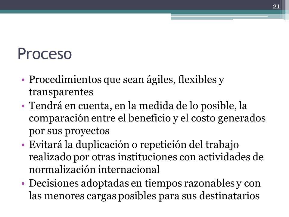 Proceso Procedimientos que sean ágiles, flexibles y transparentes Tendrá en cuenta, en la medida de lo posible, la comparación entre el beneficio y el