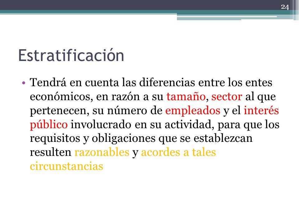 Estratificación Tendrá en cuenta las diferencias entre los entes económicos, en razón a su tamaño, sector al que pertenecen, su número de empleados y