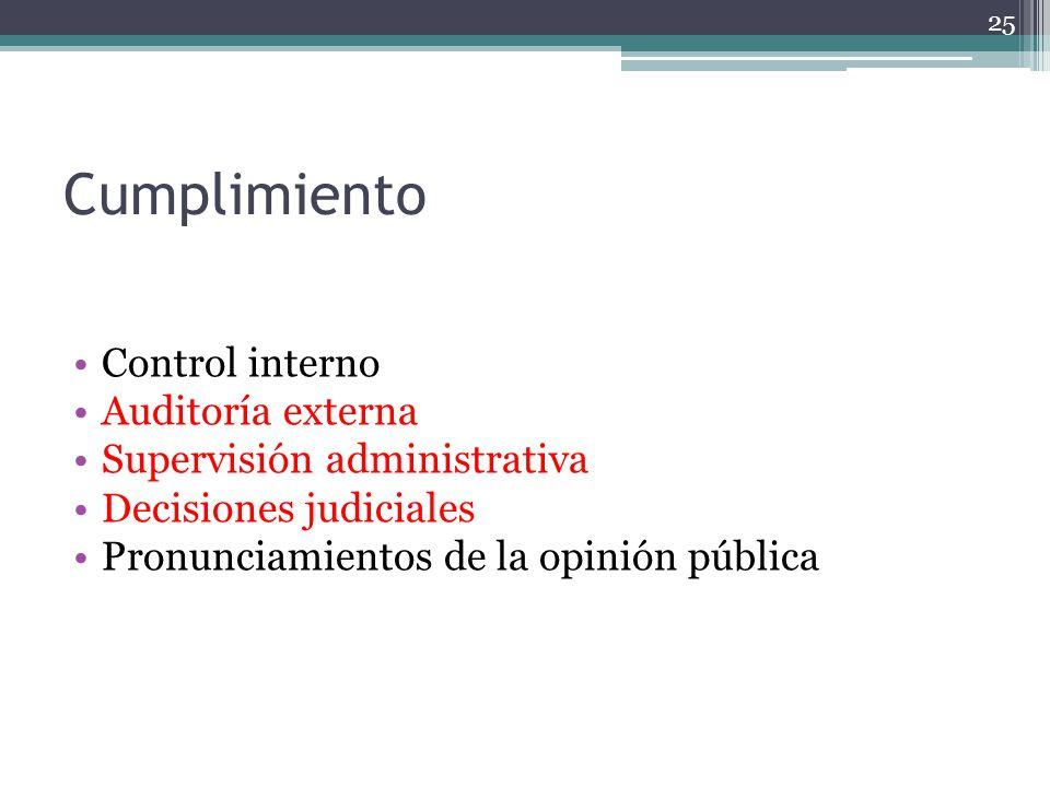 Cumplimiento Control interno Auditoría externa Supervisión administrativa Decisiones judiciales Pronunciamientos de la opinión pública 25