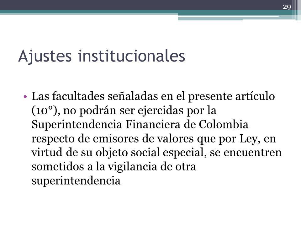Ajustes institucionales Las facultades señaladas en el presente artículo (10°), no podrán ser ejercidas por la Superintendencia Financiera de Colombia