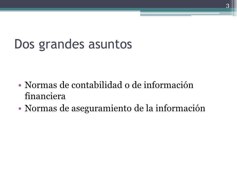 Dos grandes asuntos Normas de contabilidad o de información financiera Normas de aseguramiento de la información 3