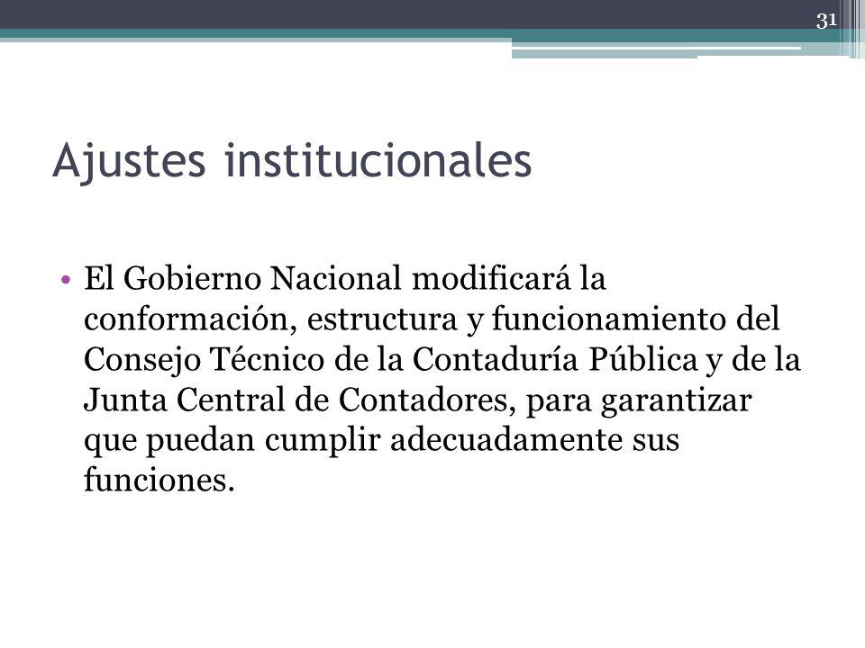 Ajustes institucionales El Gobierno Nacional modificará la conformación, estructura y funcionamiento del Consejo Técnico de la Contaduría Pública y de